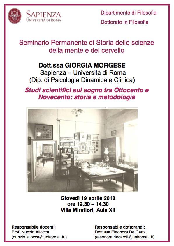 Seminario Permanente di Storia delle scienze della mente e del cervello
