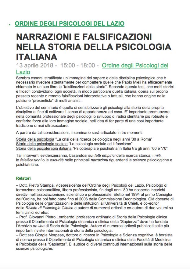 Narrazioni e falsificazioni nella storia della psicologia italiana